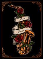 Vector illustration of saxophone with roses and ribbon