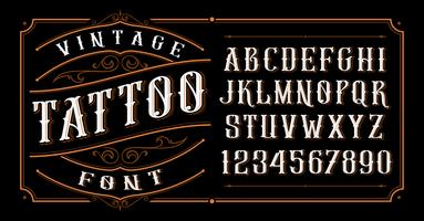 Vintage Tattoo Font.  vector