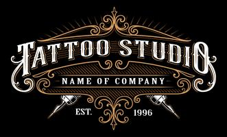 Estudio de tatuaje vintage emblem_2 (para fondo oscuro)