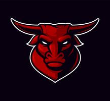 Vector illustration of bull mascot on the dark background.
