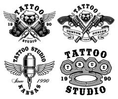 Set of monochrome tattoo emblems.