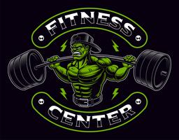 Coloured badge of a bodybuilder with barbell on the dark background.