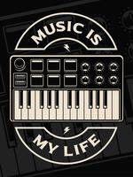 Vector illustration of midi keyboard on the dark background