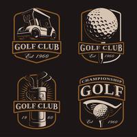 Golf vector set on dark background