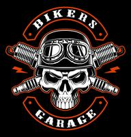 Biker  skull and crossed spark plugs.