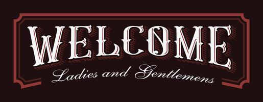 Vintage lettering illustration of Welcome.