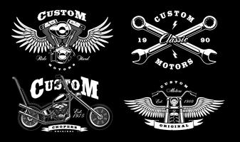 Ensemble de 4 illustrations de motards vintage sur fond sombre_1