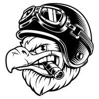 Águia motociclista com charuto