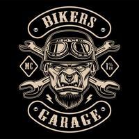 Design in bianco e nero della patch biker con il personaggio.