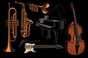 Sats med vektorillustrationer av olika musikinstrument.