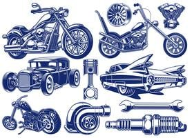 Black and white illustrations of transportation theme vector