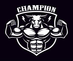 Black and white badge of a bull bodybuilder .