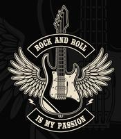 Rock and roll gitarr med vingar illustration