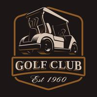 Golf cart vector logo on dark background