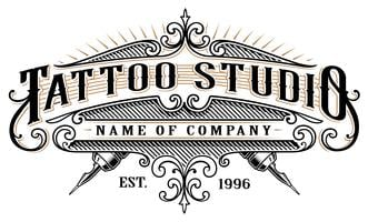 Vintage tattoo studio emblem_2 (for white background)