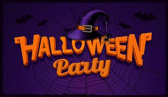 Halloween party banner with pumpkin lettering and hat of witch