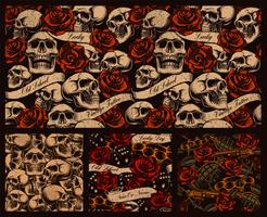 Set of seamless tattoo backgrounds with skulls