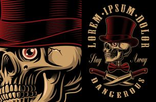 Vector illustration of a skull in hat with crossed knifes.