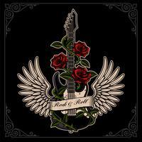 Vectorillustratie van gitaar met vleugels en rozen in tattoo-stijl.