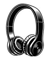 Zwart en wit illustratie van hoofdtelefoons.