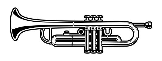 black and white illustration of trumpet
