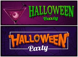 Set of halloween party banners, design templates.