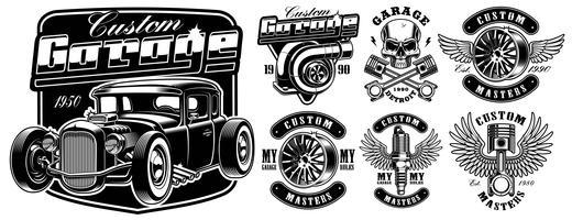 Emblemas de serviço de carro.