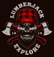 Lumberjack skull vector illustration