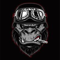 Gorilla biker mascot. vector