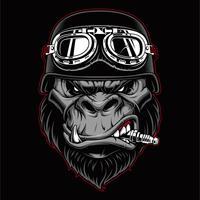Mascote de motociclista de gorila.