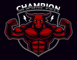 Coloured badge of a bull bodybuilder on the dark background.