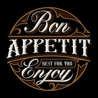 Bon appetit belettering ontwerp.
