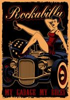 Poster vintage con pin up girl e auto d'epoca