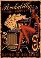 Vintage poster with girl devil on the classic car