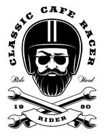 Biker with beard and crossed wrenches