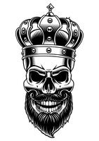 Skull of king. Vector illustration.