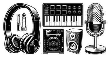 Conjunto de ilustraciones blancos y negros de DJ en el fondo blanco.