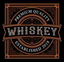 Template of Vintage whiske label on the dark background vector