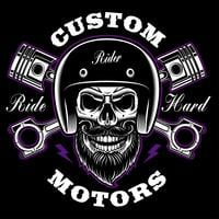 Biker skull with beard and crossed pistons.