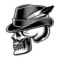 Vectorillustratie van een schedel in hoed met veer.