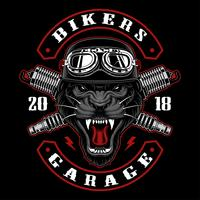 Panther biker with spark plugs.
