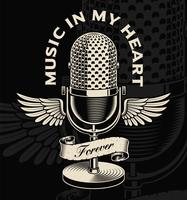 Vintage microphone with wings and ribbon in tattoo style vector