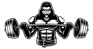 Black and white illustration of a  gorilla with barbell