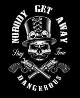 Black and white shirt design with a skull and guns,
