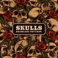 Skull with roses seamless pattern vector