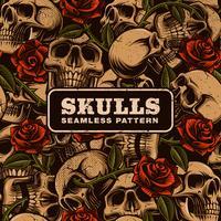 Crâne avec motif sans soudure de roses