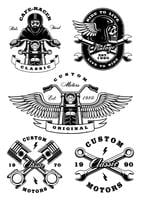 Set of 5 vintage biker illustrations on white background_2