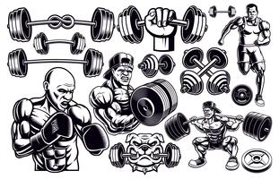 Set of black and white design elements for gym.