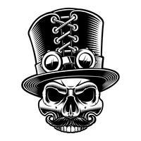 Ilustración vectorial de un cráneo steampunk en sombrero de copa