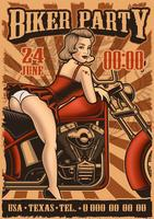 Poster vintage con pin up girl e moto